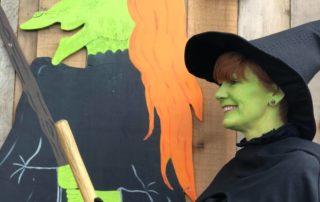 Green witch at Farmer Copleys pumpkin festival