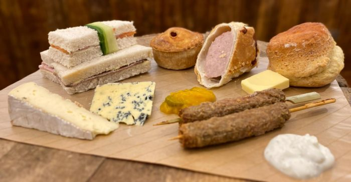 Selection of sandwiches and savoury treats on Farmer Copleys Savoury Afternoon Tea