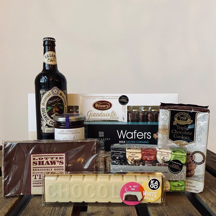 A hamper available at Farmer Copleys full of chocolate related products from the farm shop.