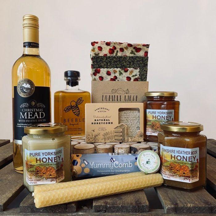 Queen bee hamper full of honey products at Farmer Copleys farm shop.