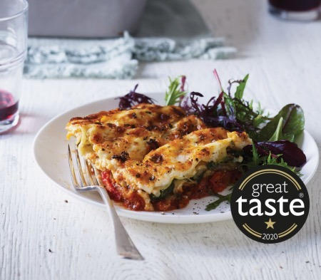 COOK Roasted Vegetable Lasagne on a plate, available at Farmer Copleys Farm Shop